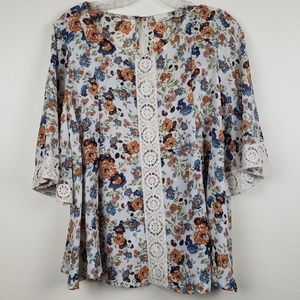 Everleigh | Crochet Trim Floral Blouse, Size S